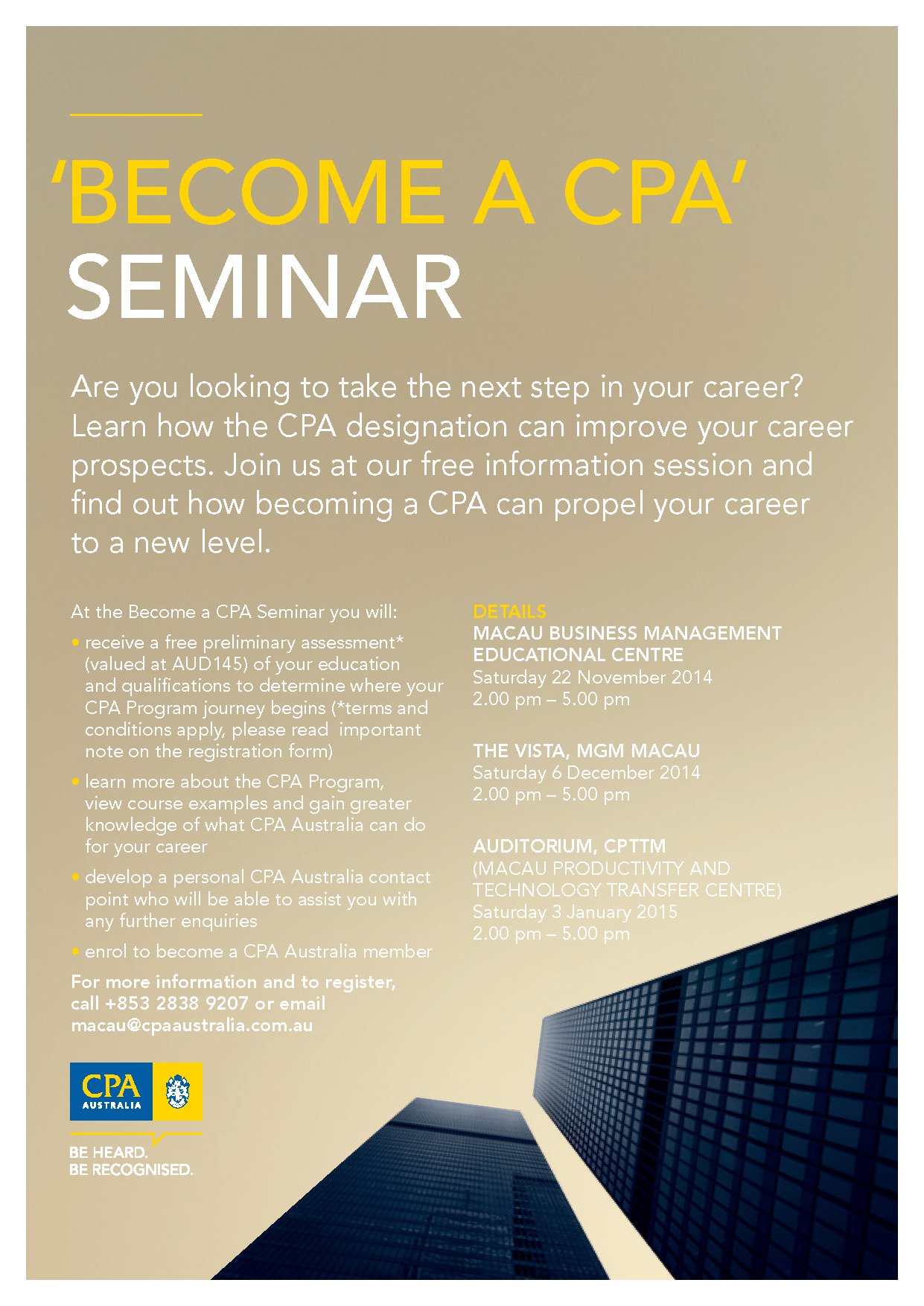 Invitation to Become a CPA Seminars in Macao on November 22 2014