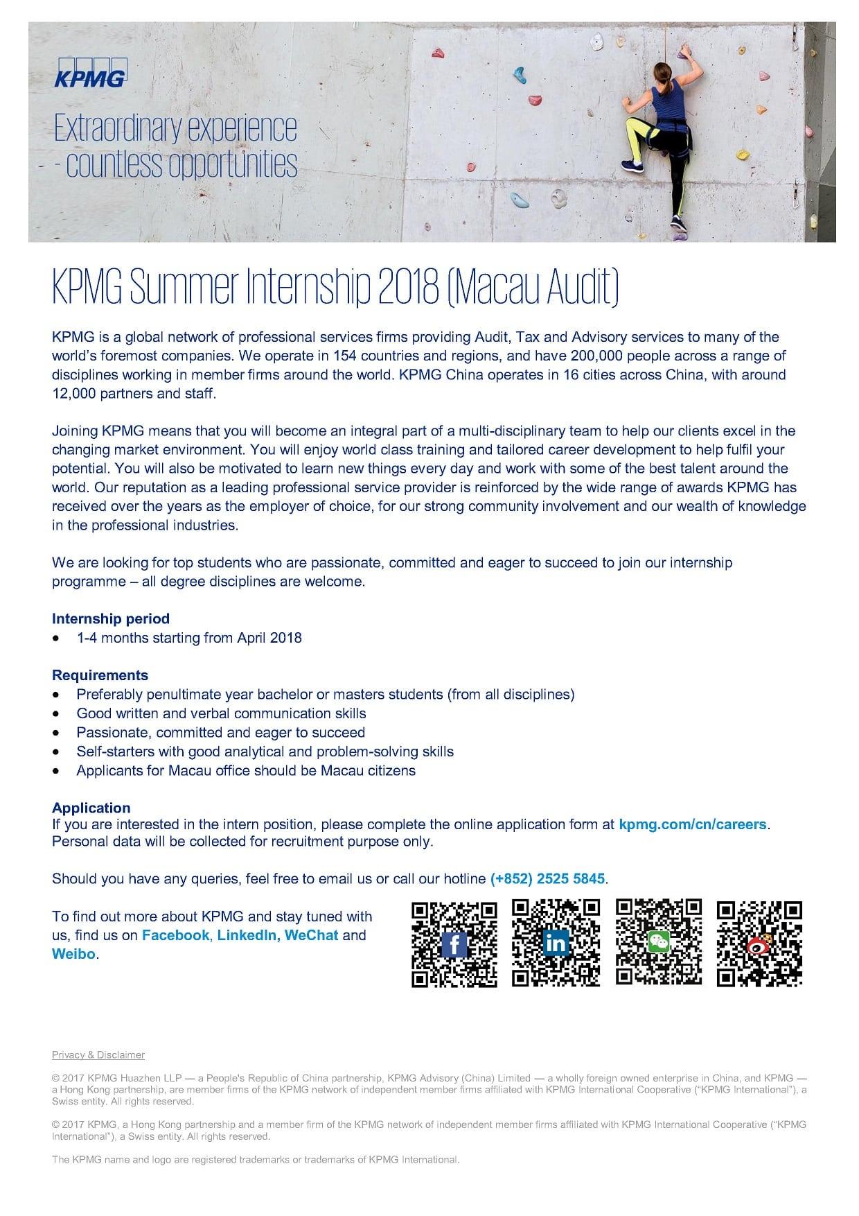 KPMG Summer Internship 2018 (Macau Audit) - Faculty of