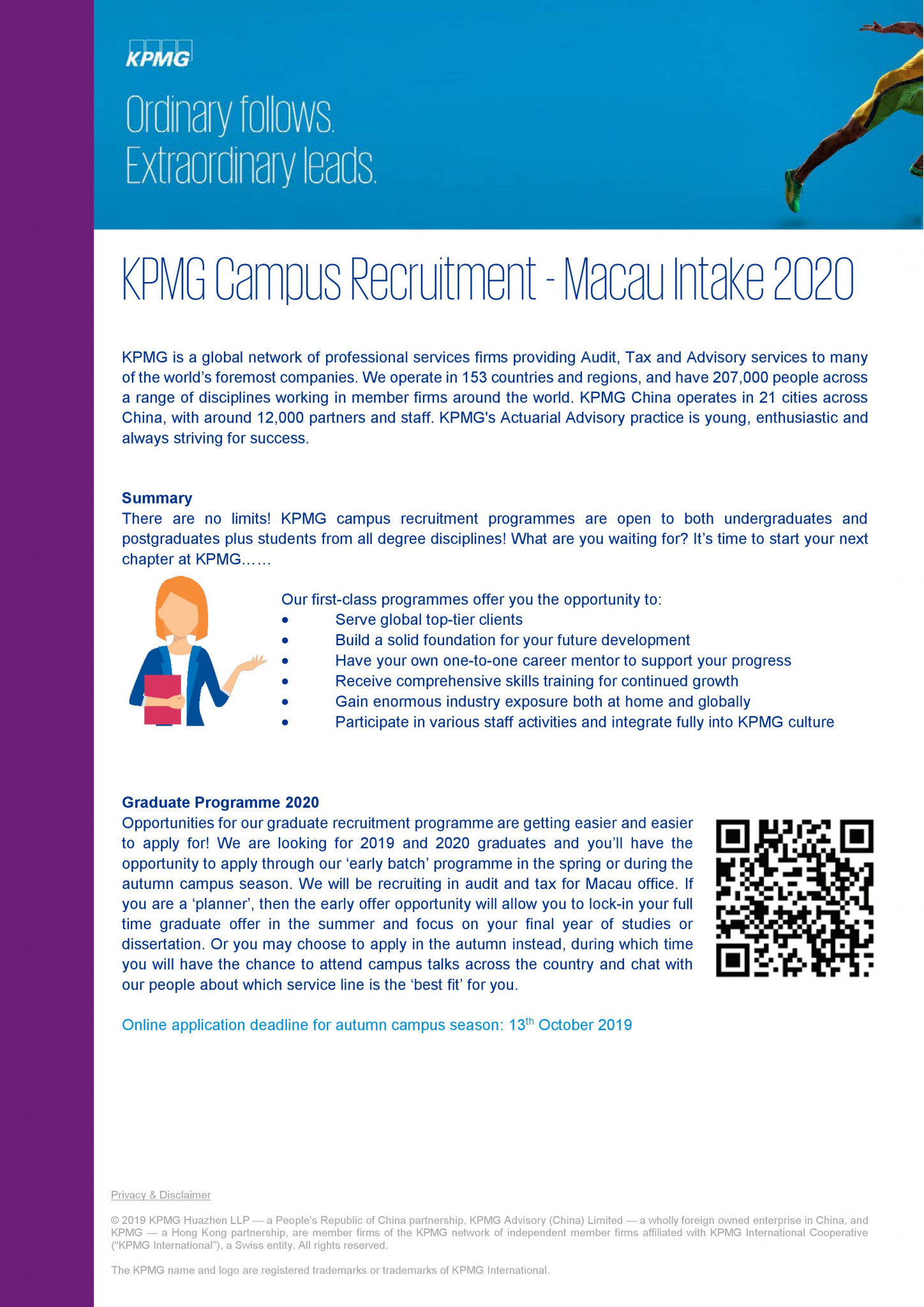 KPMG Graduate Programme 2020 - Faculty of Business